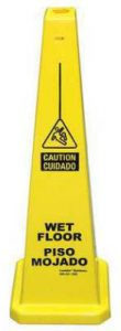 Bilingual Yellow Wet Floor Cone