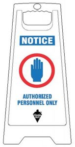 White Plastic Folding Authorized Personnel Floor Sign