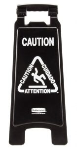 Black Plastic Bilingual Folding Wet Floor Sign