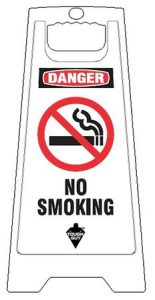 White Plastic Folding No Smoking Floor Sign