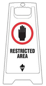 White Plastic Folding Restricted Area Floor Sign