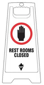 White Plastic Folding Restrooms Closed Floor Sign