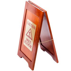 Wooden Folding Wet Floor Sign