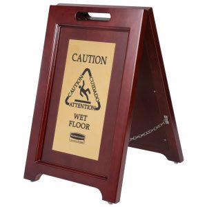 Wooden Folding Wet Floor Sign With Brass Plate