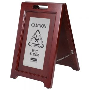 Wooden Folding Wet Floor Sign With Stainless Steel Plate