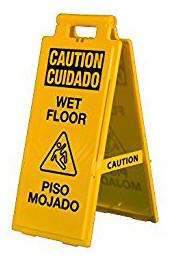 Bilingual Yellow Wet Floor Sign