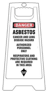 White Plastic Folding Asbestos Warning Floor Sign