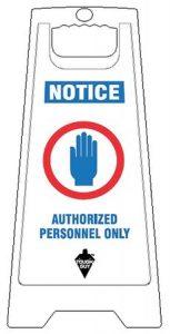 White Plastic Folding Authorized Personnel Floor Sign