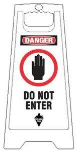 White Plastic Folding Do Not Enter Floor Sign